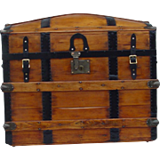 Large Antique Humpback Stagecoach trunk  -  Restored!