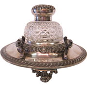 English Victorian Inkwell & Pen Rest, Silver plate