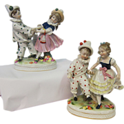 Pair of Royal Vienna Porcelain Figural Lamp Bases
