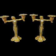 Bronze Art Nouveau Candelabra pair