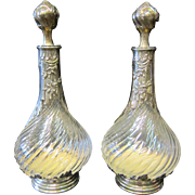 Pair of French Crystal/Silver Cologne Bottles