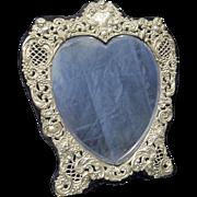 Vintage Valentine's Heart Shape Sterling Mirror