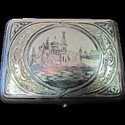 Vintage Russian Niello Sterling Silver Cigarette Case
