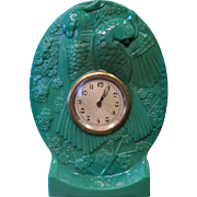 Vintage Art Deco Green Glass Table Clock