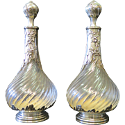 Vintage Pair of Sterling Silver & Crystal Cologne Bottles