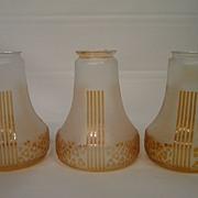 Three classical Art Deco lamp shades