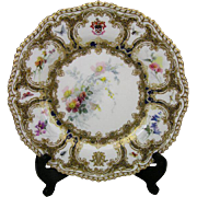 c. 1880s Antique Royal Worcester James Walker Armorial Hand-Painted Cabinet Plate