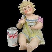 "LARGE 12"" Antique Conta & Boehme German Bisque Porcelain Piano Baby Figurine"