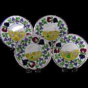(4) Antique Staffordshire Rabbitware Stick Spatter Spongeware Plates