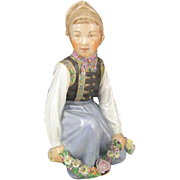 SOLD c. 1955 Vintage Royal Copenhagen Porcelain #12414 Amager Boy Figurine