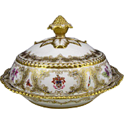 c. 1880 Antique Royal Worcester James Walker Armorial Crest Hand-Painted Covered Vegetable Bow