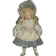 SOLD Artist All Bisque Dollhouse Victorian Style Child Doll Possibly by Jan Clarke Sunday Doll