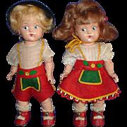 Painted Eye HP Ginny Steffi & Sven Dolls Original 1940's Minty!
