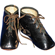 SOLD Early Pair of Black Leather Boots for China or Paper Mache Doll