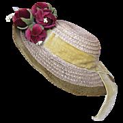 Vintage straw hat for large bebe