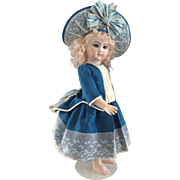 Teal blue and Ivory silk doll costume and hat