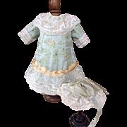 Duck egg blue silk brocade doll dress and bonnet