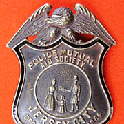 SOLD Jersey City (NJ) Police Mutual Aid Society Badge ca. 1910-1915