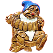 Snow White Bashful Dwarf Sirocco Wood Figural Pin ca. 1938