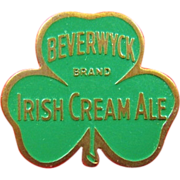 Beverwyck Brand Irish Cream Ale Beer Company Advertising Enamel & Brass Pin 1940's