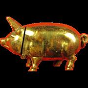 Figural Pig Swine Fob Match Safe Brass/GF ca. earlier 1900's