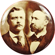 "1904 Roosevelt and Fairbanks Photo Political Campaign Pinback Button 2-1/4"" Beauty!"
