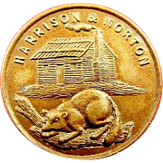 1888 Harrison & Morton Log Cabin and Beaver Campaign Political Lapel Stud