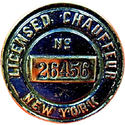 1910 (Undated) New York State Licensed Chauffeur Badge