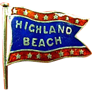Highland Beach Atlantic Highlands, NJ Enamel Souvenir Banner Flag Lapel Stud Pin ca. 1890s-191