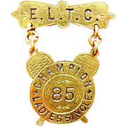 E.L.T.C. Edgbaston Lawn Tennis Club Champion Ladies Single Award Medal 1885