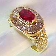 SALE Magnificent 3.13 TCW Natural Ruby VS Diamond 18k Ring