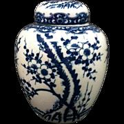 Vintage Blue & White Ginger Jar On Stand