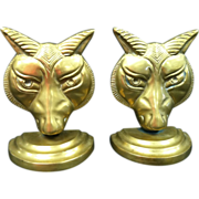Bastet Head Solid Brass Bookends