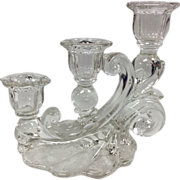 Clear Rosepoint Candlesticks By Cambridge Glass