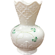 Irish Belleek Shamrock Vase With 7th Mark