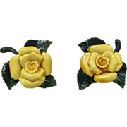 Vintage Yellow Rose Curtain Tie Backs