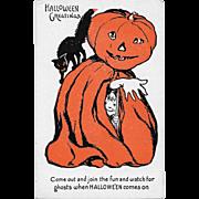 Vintage Halloween Postcard - Jack-O-Lantern Halloween Greetings Series #1133