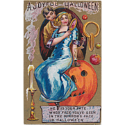 Vintage Halloween Embossed & Gold Postcard - A Joyful Halloween
