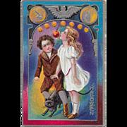 Vintage Embossed Halloween Postcard With Silver Trim - Halloween Series 5