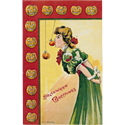 Vintage Halloween Greetings Postcard By E.C. Banks Made In Saxony Dated 1909