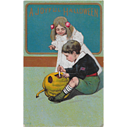 Vintage Halloween Postcard Gold Trim & Embossed Children & JOL #778