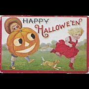 Vintage Halloween Postcard Two Children With Jack-O-Lantern 1908