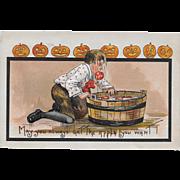 Vintage Halloween Postcard - Little Boy Bobbing For Apples 1910