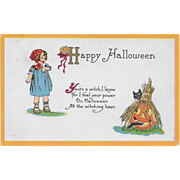 Vintage Halloween Postcard - Child, JOL And Cat By Bergman 1911