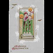 Vintage Halloween Postcard - Children & Jack-O-Lanterns By Stecher 1918