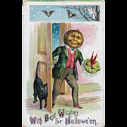 SOLD Vintage Halloween Postcard - Jack-O-Lantern Man & Black Cat