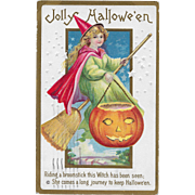Vintage Halloween Postcard - Pretty Witch On Broomstick With JOL By Stetcher 1913