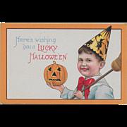 Vintage Halloween Postcard -Lucky Halloween Little Witch And JOL Series 1291B