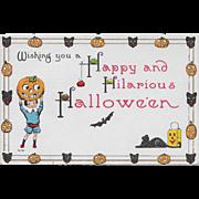 Vintage Halloween Postcard - Hilarious Halloween By Bergman