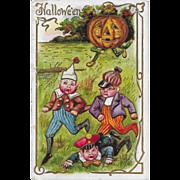 Vintage Halloween Postcard 3 Elves Chased By Jack-O-Lantern - 1911